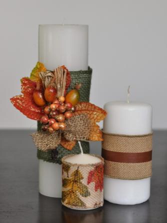 Burlap wrapped candle centerpiece