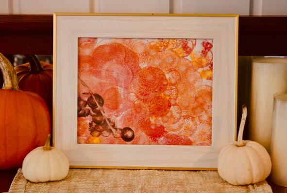 A beautiful fall leaves sponge painting