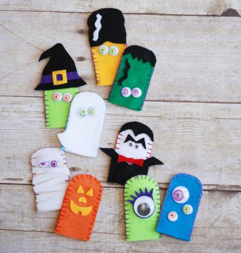 Jack O-lantern, Mummy, Dracula, Ghost, Frankenstein, Frankenstein's Bride, Witch, 3-eyed monster, 1-eyed monster felt finger puppets