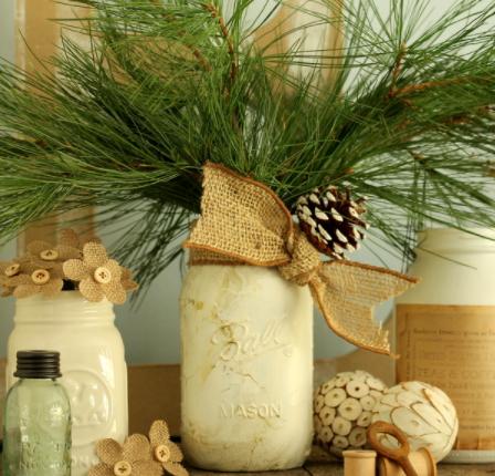 Gold marbled mason jars with burlap ribbon centerpiece
