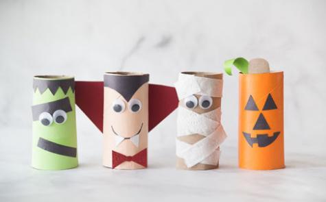 Halloween monster toilet paper rolls