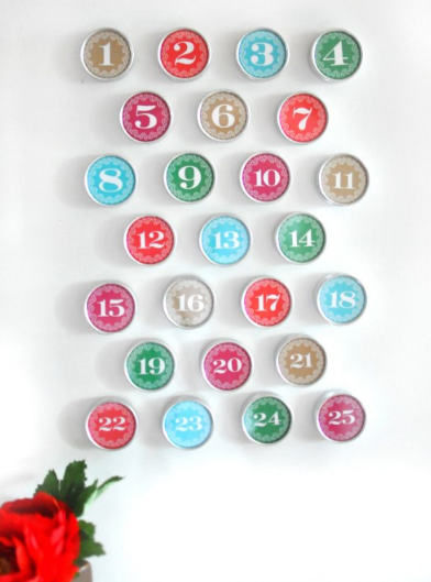colorful diy magnetic holiday advent calendar