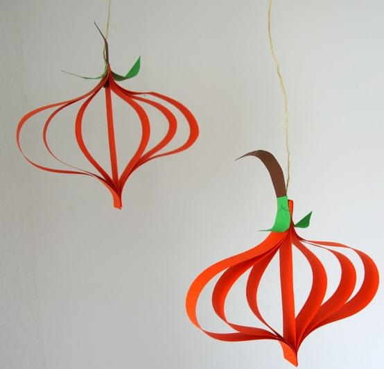 Hanging twirly pumpkins