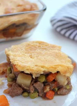 BEEF POT PIE CASSEROLE Crescent Rolls and frozen veggies dinner recipe idea