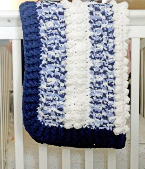 Blue multi layer chunky baby blanket