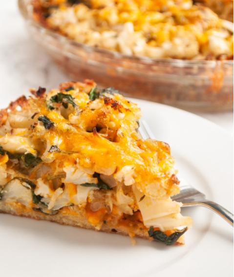 Crispy hashbrown potato crust filled Cauliflower Cheese Pie