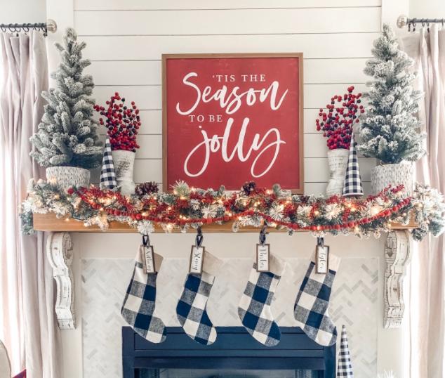 christmas mantel decor using buffalo check holiday craft