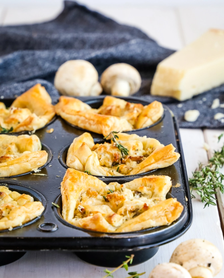 Creamy Parmesan Mushroom Cup Appetizers, perfect finger food for New Years Eve