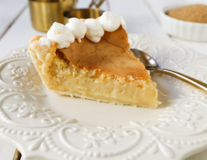 silky smooth vanilla custard in a buttery crust topped with a crisp sugar topping creme brulee pie