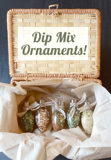 Dip mix ornaments on a basket, the cover of the basket has a text on it saying Dip Mix Ornaments. A perfect edible stocking stuffer