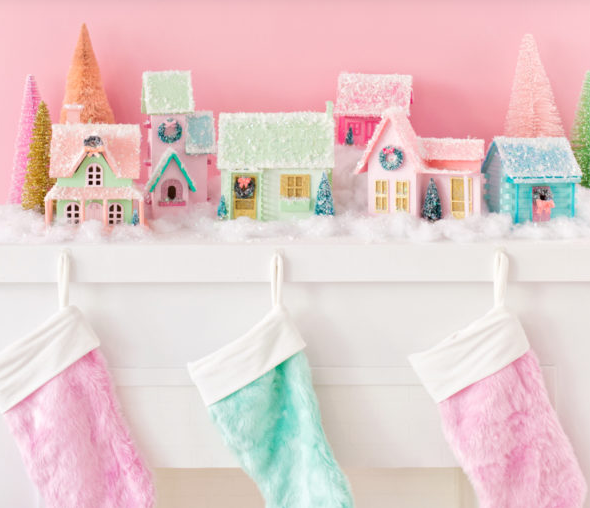 diy colorful christmas village easy holiday craft