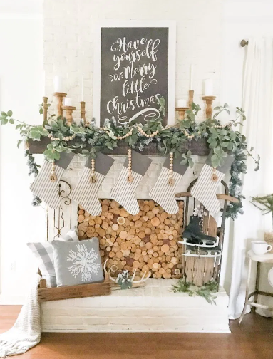 wood fireplace cover diy and christmas mantel holiday craft decor