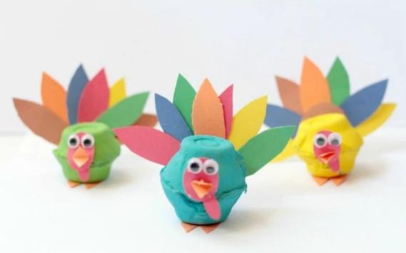 egg carton turkeys craft colorful thanksgiving project