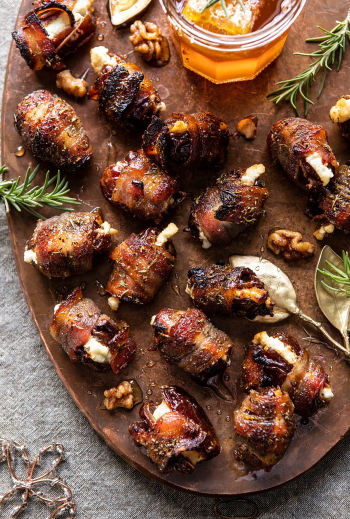 Goat cheese stuffed bacon wrapped dates with rosemary honey