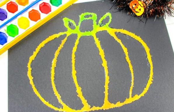 how to make halloween pumpkin salt painting with kids tutorial