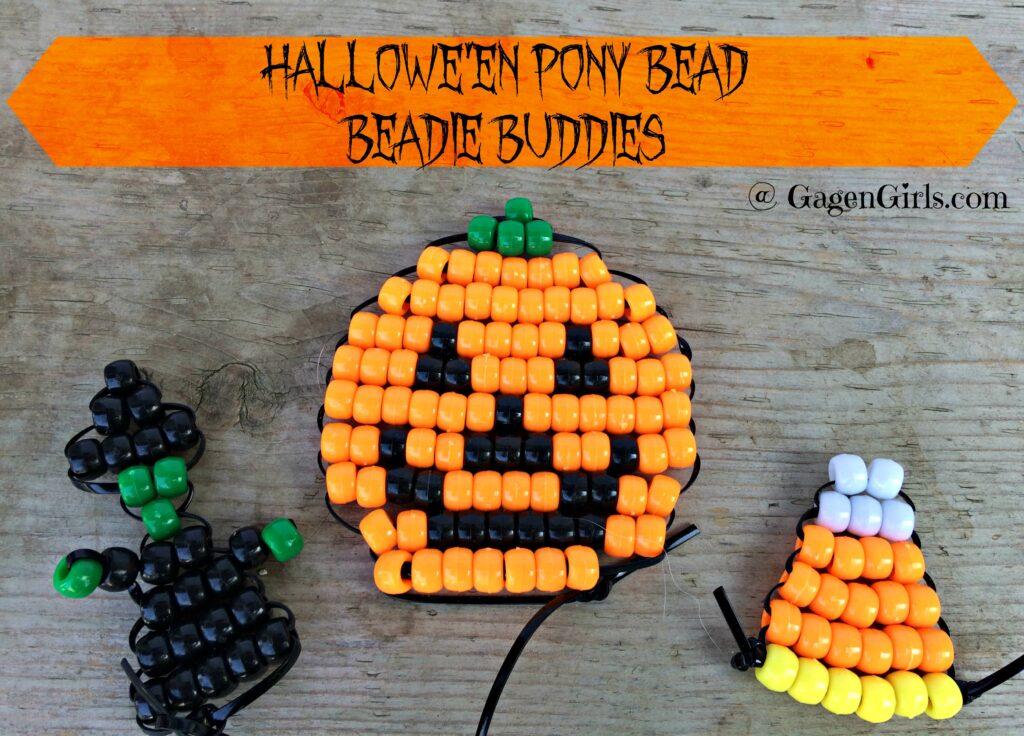 pony bead beadie buddies, a candy corn, a witch and a jack-o'-lantern