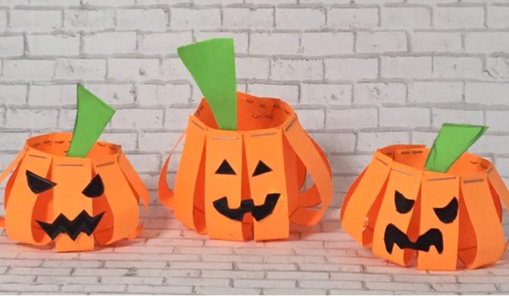 jack-o-lantern paper pumpkins halloween craft for kids