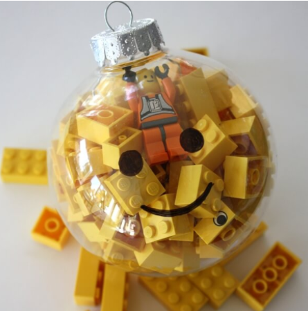 An ornament full of color yellow Legos perfect for stocking stuffer