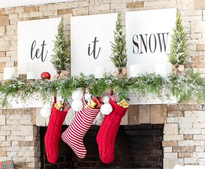 christmas mantel decorating let it snow holiday craft