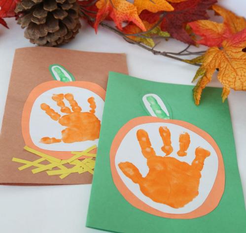 little pumpkin kids handprint fall cards holiday craft