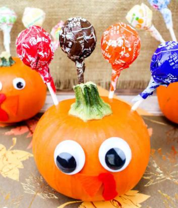 Mini pumpkin turkey colorful thanksgiving craft for kids