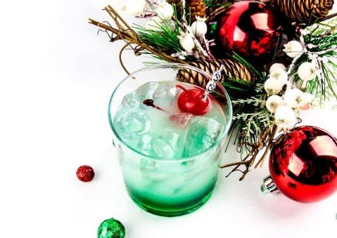 Mistletoe Mocktail on a glass