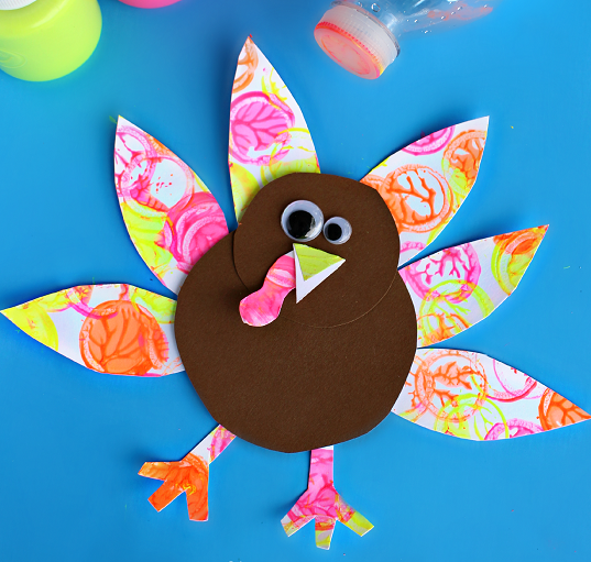 neon turkey craft for kids holiday bottle cap painting