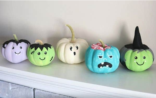 easy printed pumpkins how to paint simple monster faces craft for kids