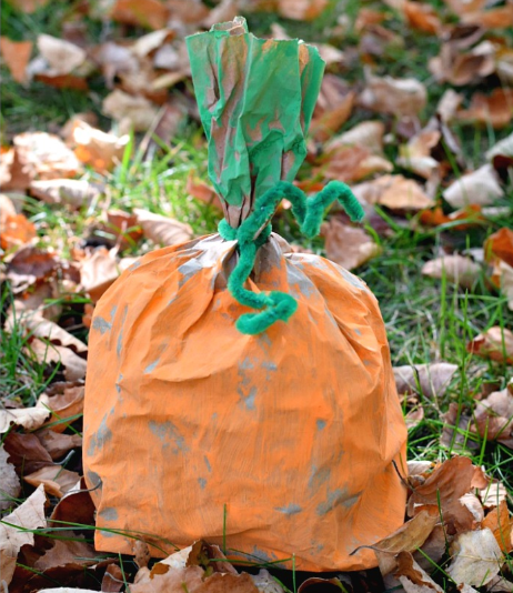 easy paper bag pumpkin craft for kids to make fall project