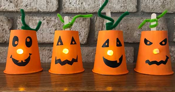 paper cup jack-o-lantern craft for kids