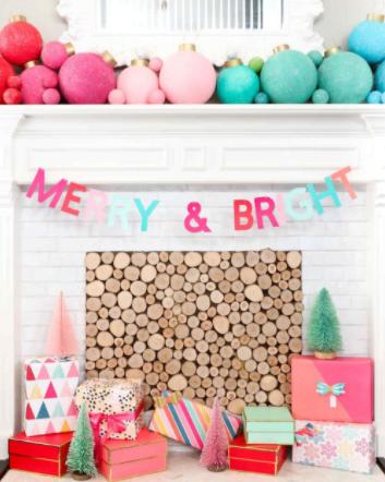 diy rainbow ornament mantel christmas holiday home decor