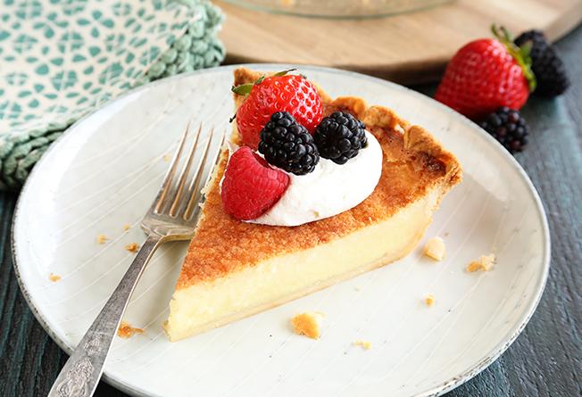 delicious Southern buttermilk pie for dessert