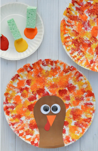 Sponged painted thanksgiving turkey holiday craft for kids