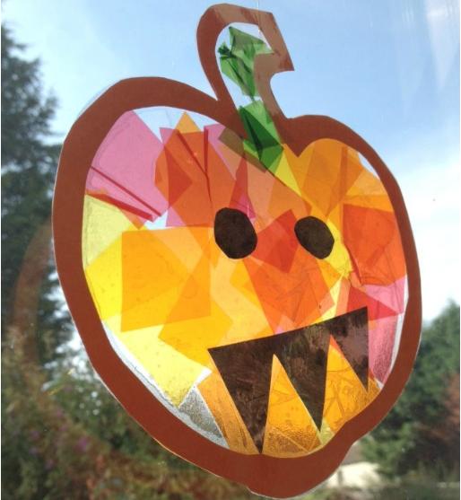 stained glass pumpkin suncatcher craft for kids