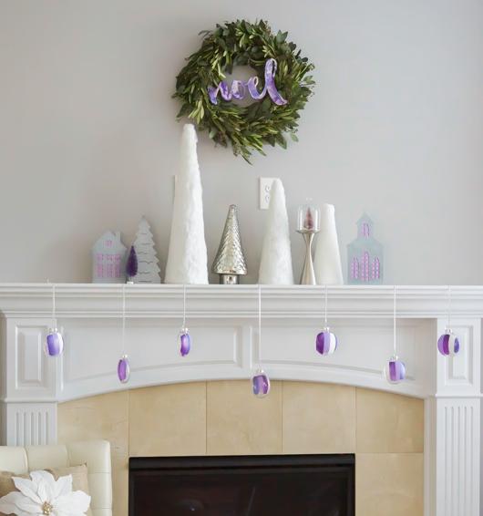 sugared plum modern christmas mantel holiday decor