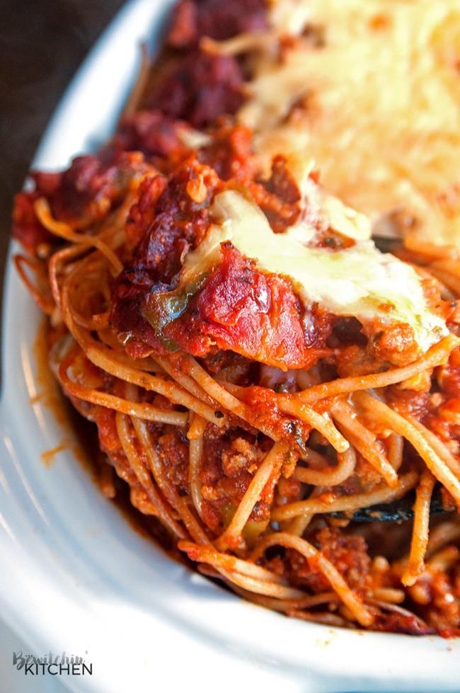 Skinny baked spaghetti