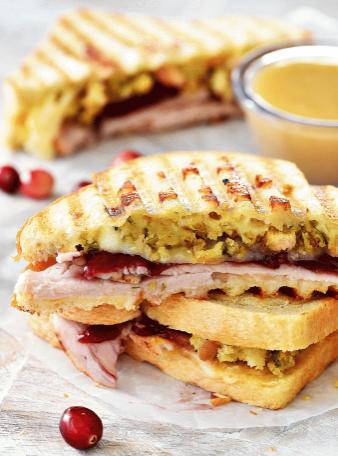 thanksgiving leftovers panini recipe for snacks, breakfast, lunch, dinner
