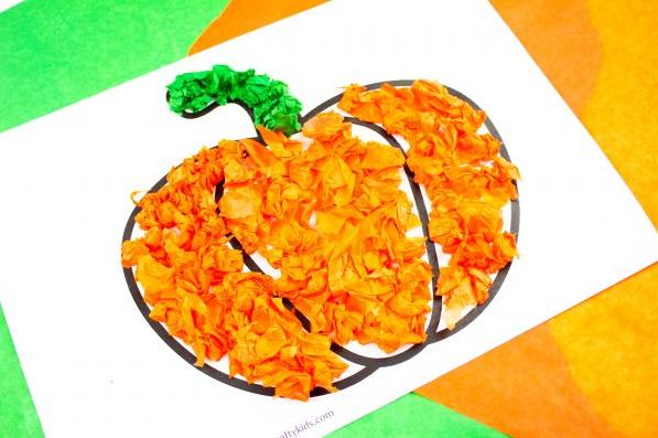 tissue paper pumpkin craft for kids