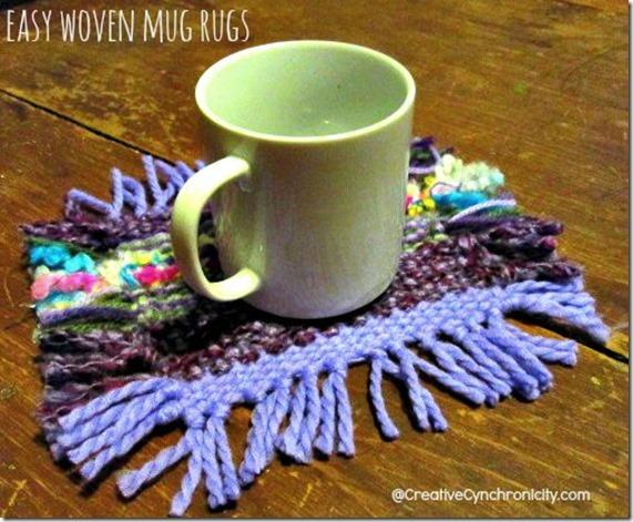 A yellow mug on top of a woven mug rug