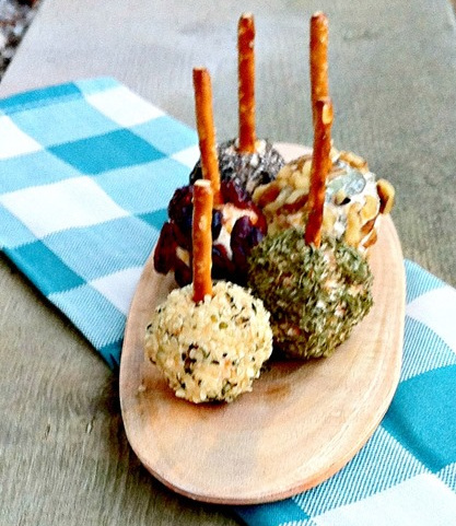 mini cheese balls on pretzel sticks