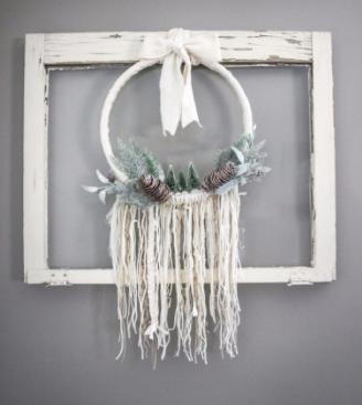 A boho style homemade winter wreath holiday decor