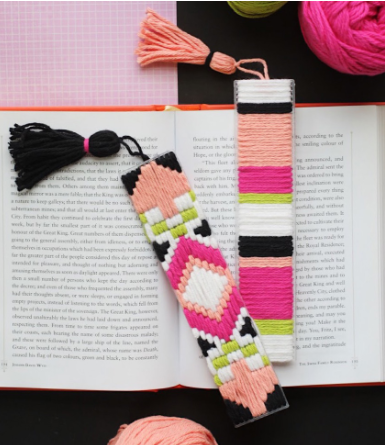 Homemade plastic canvas bookmark holiday gift