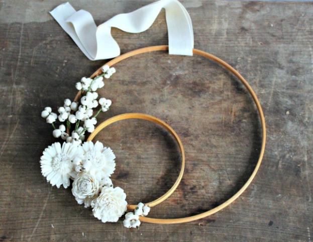 A cute homemade winter white embroidery hoop wreath