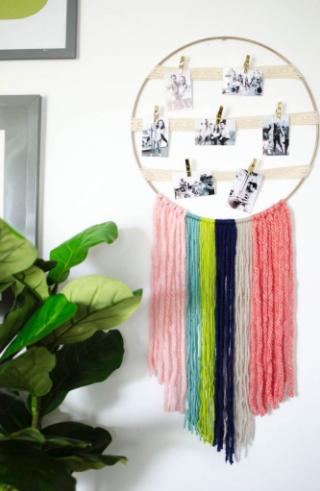 hoop and yarn photo display