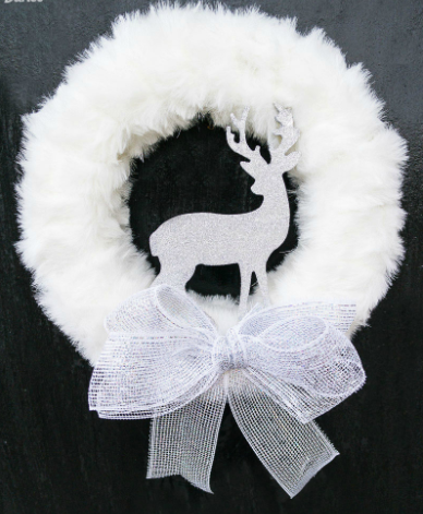Fur and glitter homemade winter wreath white holiday decor