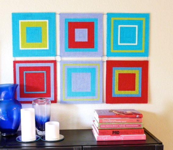 Modern wall hanging with plastic canvas home decor craft