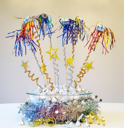 Bowl of Hershey's kisses with noisemakers sticking out of it for New Year's Eve centerpiece