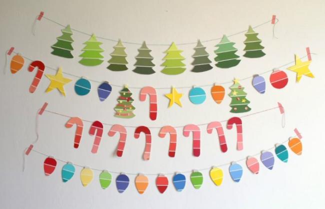 paint chip christmas garland holiday decor kids craft