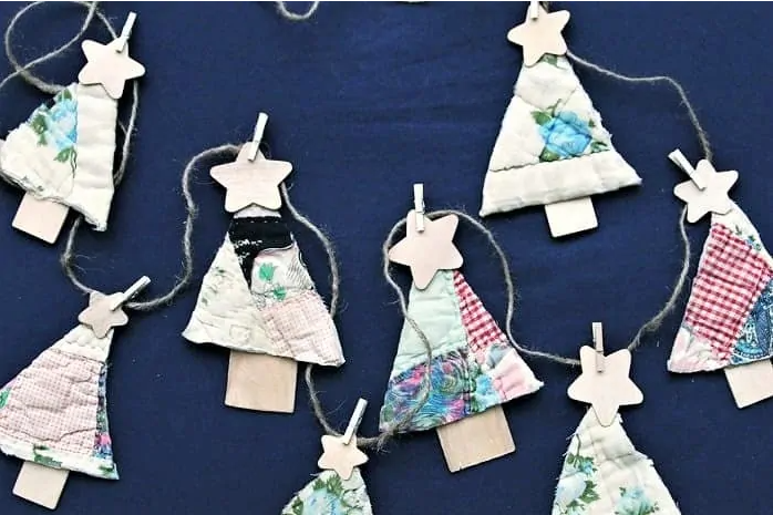 recycled quilt christmas tree garland and ornaments holiday decor