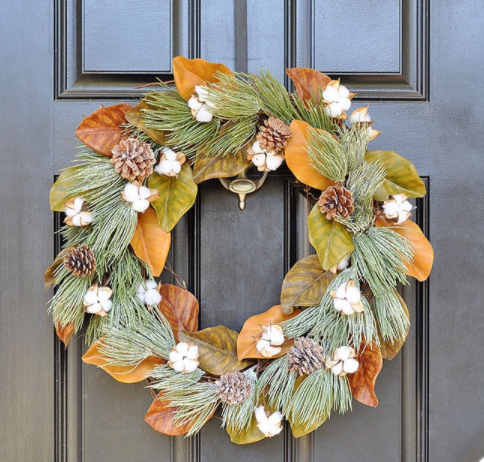 Winter frost magnolia cotton wreath outdoor holiday decor
